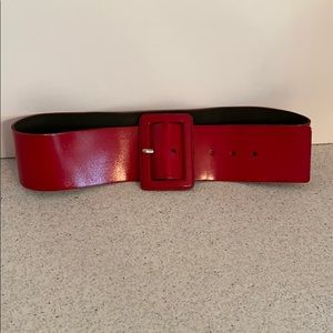 Wide red leather waist belt by Express size M